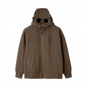 CP COMPANY GOGGLE LENS ZIP HOODIE IN IVY GREEN