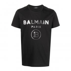 BALMAIN SILVER FOIL LOGO PRINT T-SHIRT IN BLACK