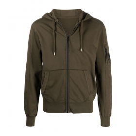 CP COMPANY LENS ZIP-UP HOODIE IN IVY GREEN
