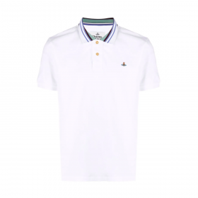 VIVENNE WESTWOOD CLASSIC POLO STRIPE COLLAR IN WHITE