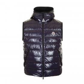 MONCLER LAPPE QUILTED HOODED GILLET IN NAVY