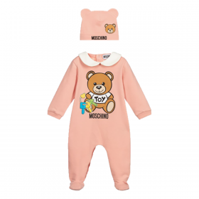MOSCHINO BABY BABYGROW AND HAT SET IN PINK