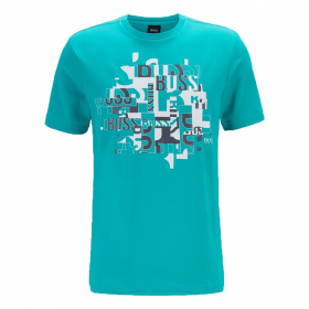 BOSS 'TEE 2' TYPOGRAPHICAL LOGO T-SHIRT IN GREEN