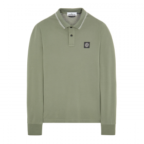 STONE ISLAND STRETCH COTTON LONG SLEEVE POLO IN GREEN
