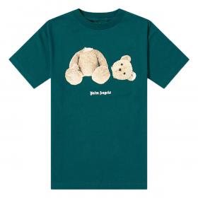 PALM ANGELS TEDDY PRINT T-SHIRT IN GREEN