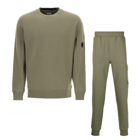 CP COMPANY CREW NECK TRACKSUIT IN OLIVE GREEN