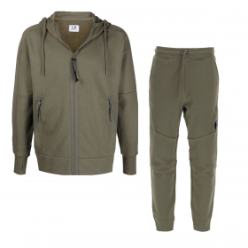 CP COMPANY DIAGONAL RAISED FLEECE HOODED TRACKSUIT IN OLIVE GREEN