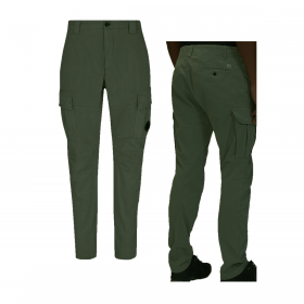 CP COMPANY STRETCH SATIN CARG0 PANT IN OLIVE GREEN