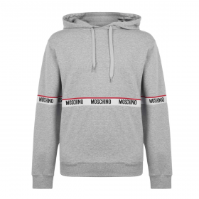 MOSCHINO TAPE ACROSS HOODIE IN GREY