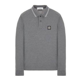 STONE ISLAND STRETCH COTTON LONG SLEEVE POLO IN GREY