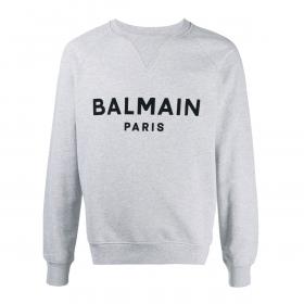 BALMAIN COTTON BLACK VELVET SWEATER IN GREY