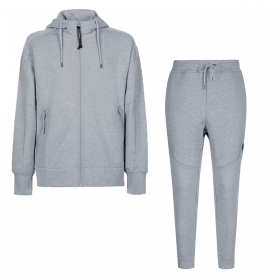 CP COMPANY DIAGONAL RAISED FLEECE HOODED TRACKSUIT IN GREY
