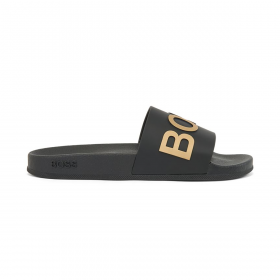 BOSS ITALIAN MADE SLIDERS WITH LOGO STRAP IN BLACK/GOLD