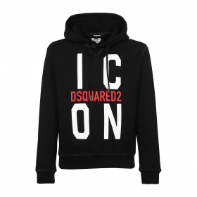 DSQUARED2 ICON HOODEED SWEATER IN BLACK