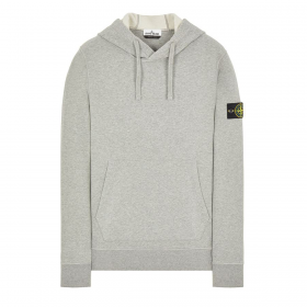STONE ISLAND BRUSHED COTTON HOODIE IN GREY