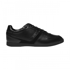 BOSS GLAZE LEATHER TRAINERS IN BLACK