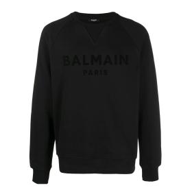 BALMAIN COTTON BLACK VELVET SWEATER IN BLACK