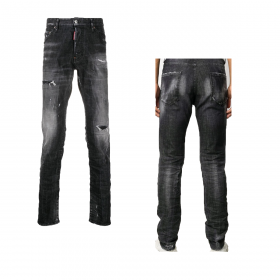 DSQUARED2 COOL GUY 1964 DISTRESSED JEANS IN BLACK