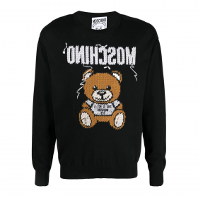 MOSCHINO EMBROIDERED KNIT BEAR JUMPER IN BLACK