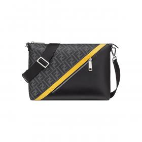 FENDI FF LOGO-PRINT MESSENGER BAG IN BLACK/YELLOW