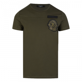 BALMAIN EMBROIDERED COTTON T-SHIRT IN GREEN