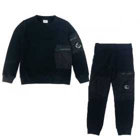 CP COMPANY JUNIOR WITH NYLON CONTRAST TRACKSUIT IN BLACK