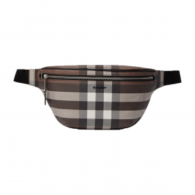 BURBERRY BROWN LOGO CHECKED LEATHER BELT BAG IN BROWN