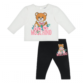 MOSCHINO BABY ROSES TEDDY T-SHIRT AND LEGGINGS SET