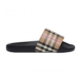 BURBERRY ICONIC PRINT SLIDERS IN BROWN