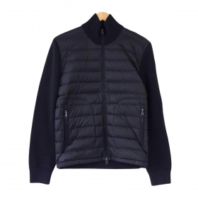 MONCLER CARDIGAN TRICOT JACKET IN NAVY BLUE