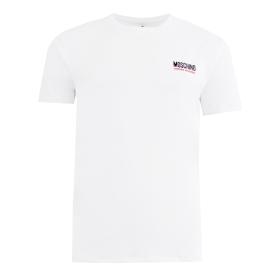 MOSCHINO UNDERWEAR SIDE TAPE T-SHIRT IN WHITE