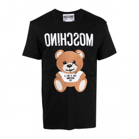MOSCHINO EMBROIDERED TEDDY T-SHIRT IN BLACK