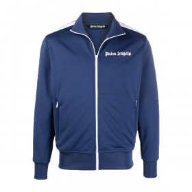 PALM ANGELS CHEST LOGO-PRINT TRACK JACKET IN BLUE