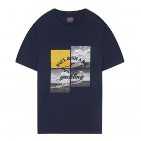 PAUL AND SHARK YACHTING PHOTOGRAPH T-SHIRT IN BLUE