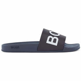 BOSS ITALIAN MADE SLIDERS WITH LOGO STRAP IN NAVY
