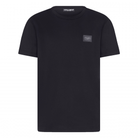 DOLCE & GABBANA COTTON TEE WITH BRANDED PLATE IN NAVY
