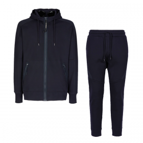 CP COMPANY DIAGONAL RAISED FLEECE HOODED TRACKSUIT IN NAVY BLUE