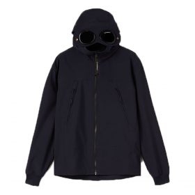 CP COMPANY JUNIOR SHELL-R HOODED JACKET IN NAVY