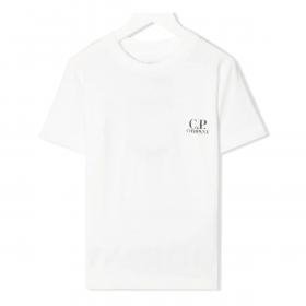 CP COMPANY JUNIOR T-SHIRT IN WITH PATTERN ON THE BACK IN WHITE