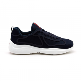 PRADA AMERICAS RUBBER SOLE TRAINERS IN NAVY BLUE
