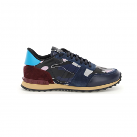 VALENTINO ROCK RUNNER CAMO TRAINER IN NAVY/LILAC