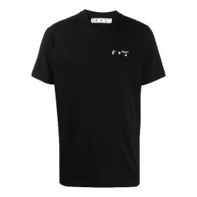 OFF-WHITE LOGO-PRINT CEW NECK T-SHIRT IN BLACK