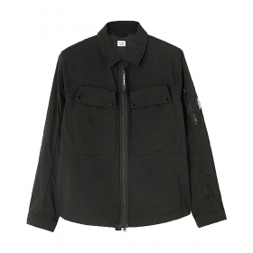 CP COMPANY GARMENT DYED UTILITY OVERSHIRT IN BLACK