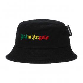 PALM ANGELS MIAMI COTTON TWIRL LOGO BUCKET HAT IN BLACK