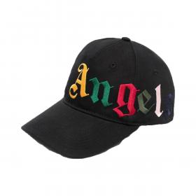 PALM ANGELS MULTI-LOGO CAP IN BLACK