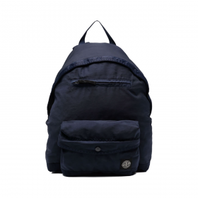 STONE ISLAND LOGO PATCH BACKPACK IN NAVY BLUE