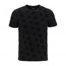 FENDI FF PATTERN T-SHIRT IN BLACK