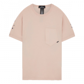 STONE ISLAND PRINTED SS CATCH POCKET-T IN ANTIQUE ROSE