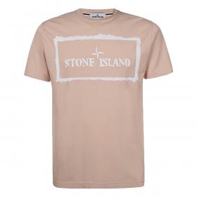 STONE ISLAND STENCIL PATTERN T-SHIRT IN PINK