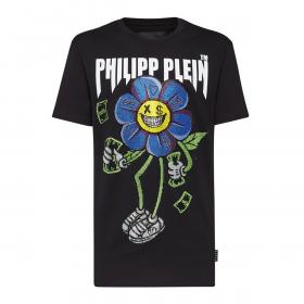 PHILIP PLEIN ROUND NECK SS FLOWERS T-SHIRT IN BLACK